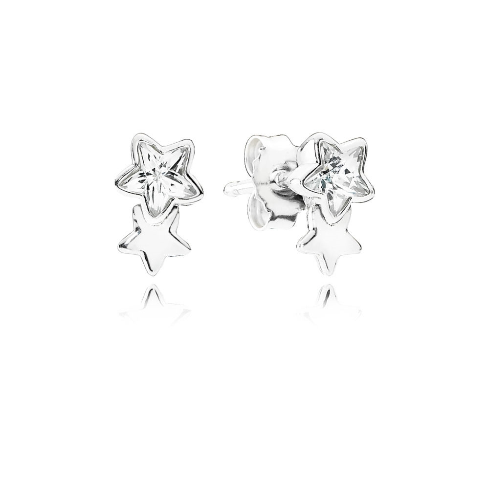 Pandora Twin star silver stud earrings with clear cubic zirconia