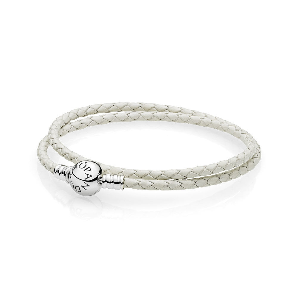 Pandora Ivory White Braided Double-Leather Charm Bracelet 590745