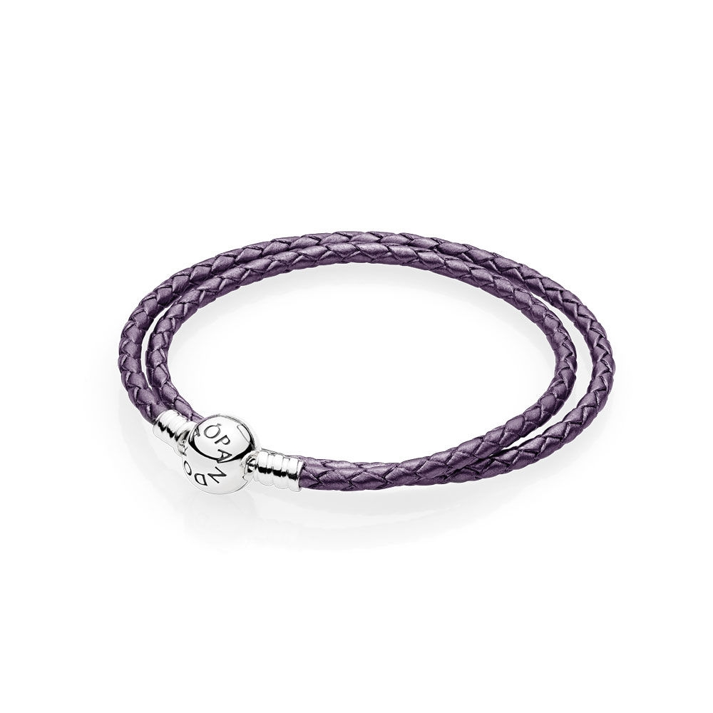 Pandora Purple Braided Double-Leather Charm Bracelet 590745CPE