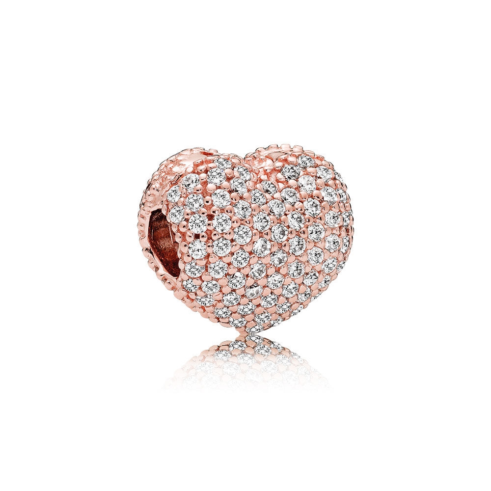 Pandora Pave Open My Heart Clip, PANDORA Rose & Clear CZ 781427C