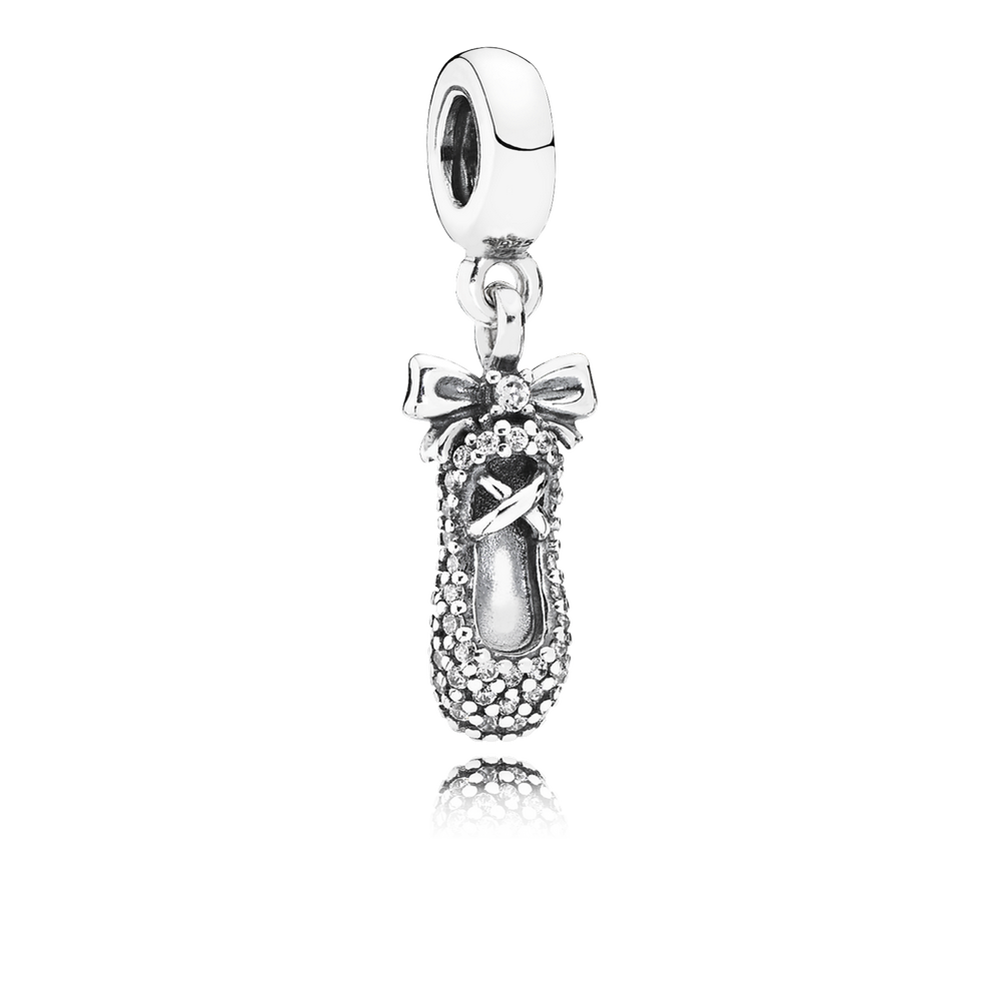 Ballet Slipper Dangle Charm, Clear CZ 791506CZ