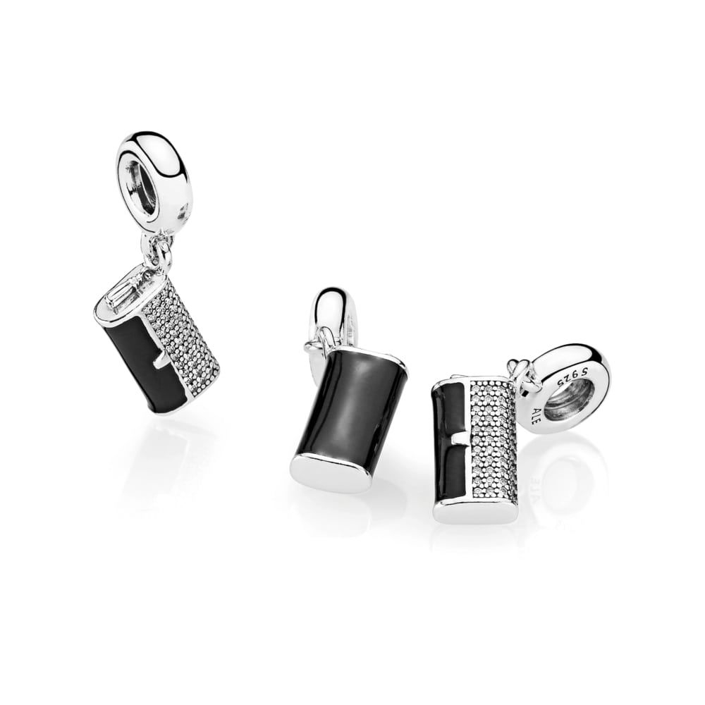 Pandora Clutch Bag Dangle Charm, Black Enamel & Clear CZ 791534C