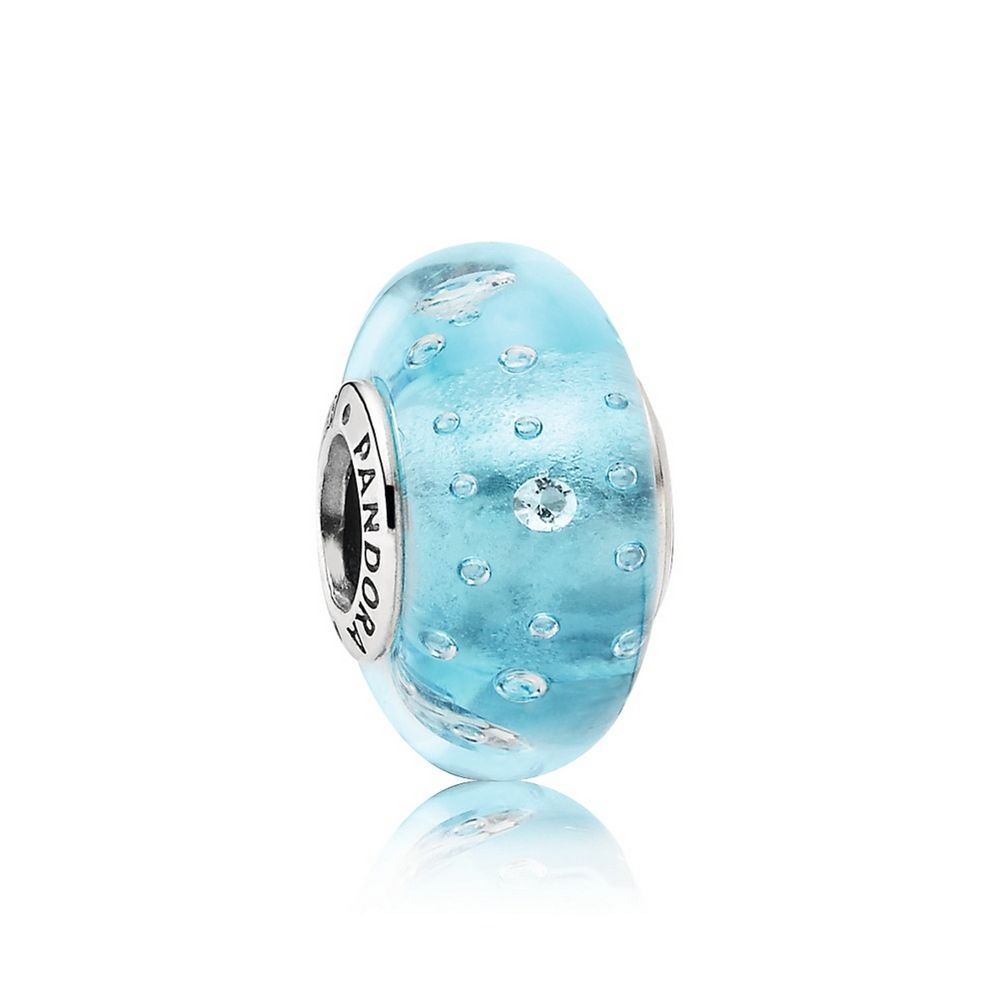 Pandora Blue Effervescence Charm, Murano Glass & Clear CZ 791618