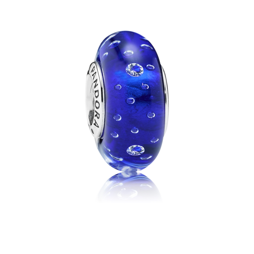 Pandora Dark Blue Effervescence Charm, Murano Glass & Clear CZ 7