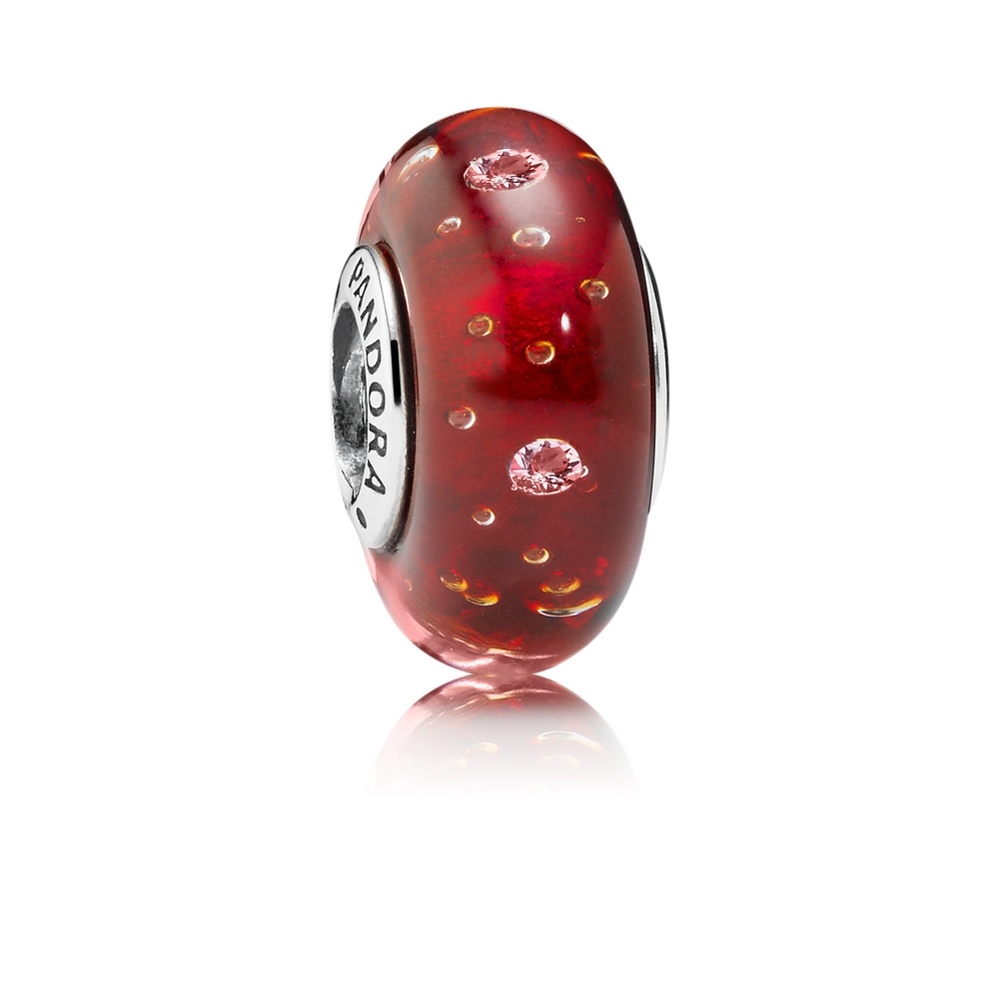 Pandora Red Effervescence Charm, Murano Glass & Clear CZ 791631C