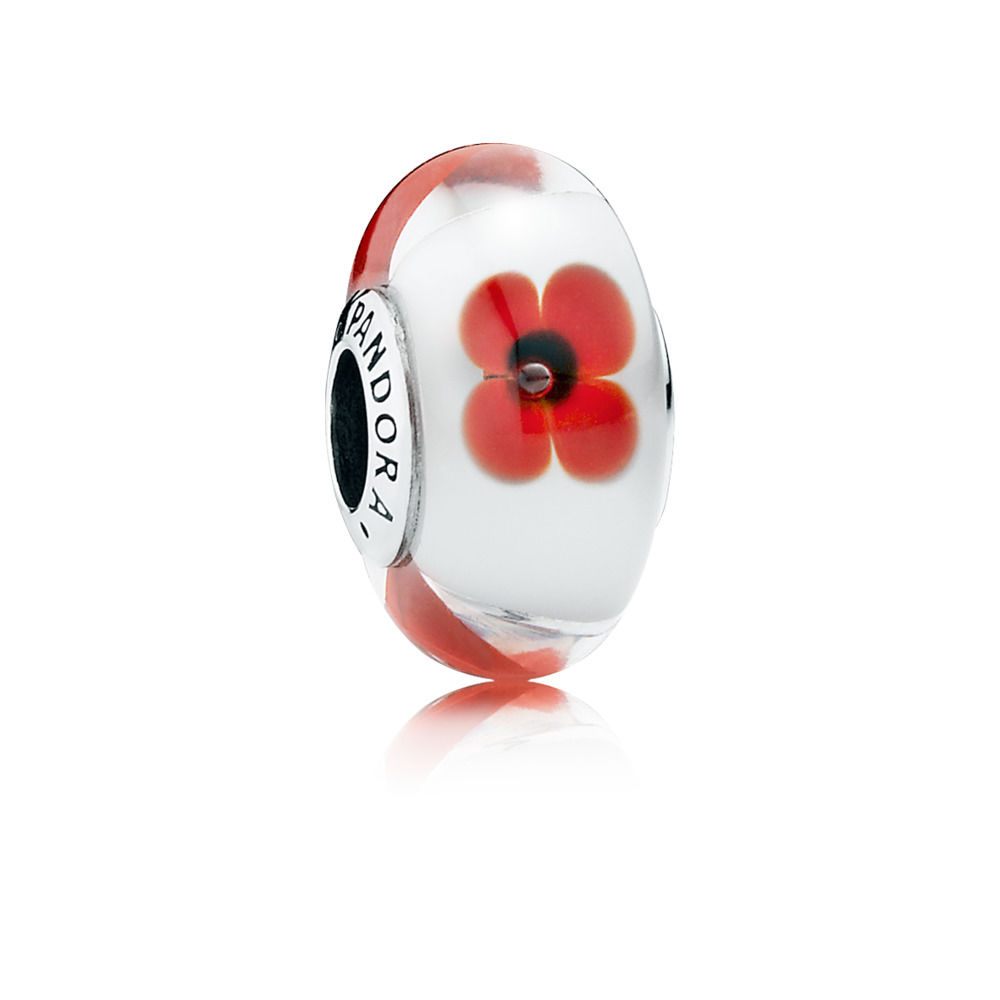 Red and White Flowers Murano Charm 791636