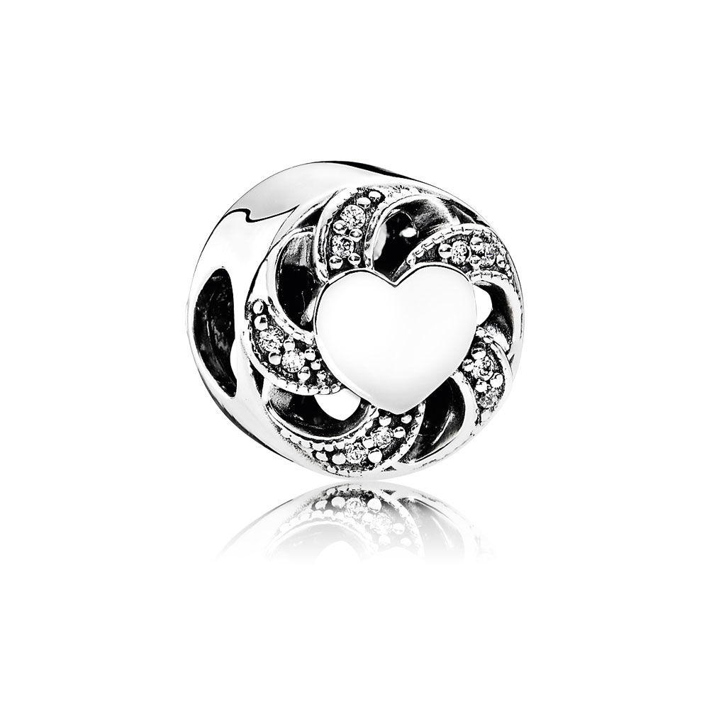 Pandora Ribbon Heart Charm, Clear CZ 791976CZ