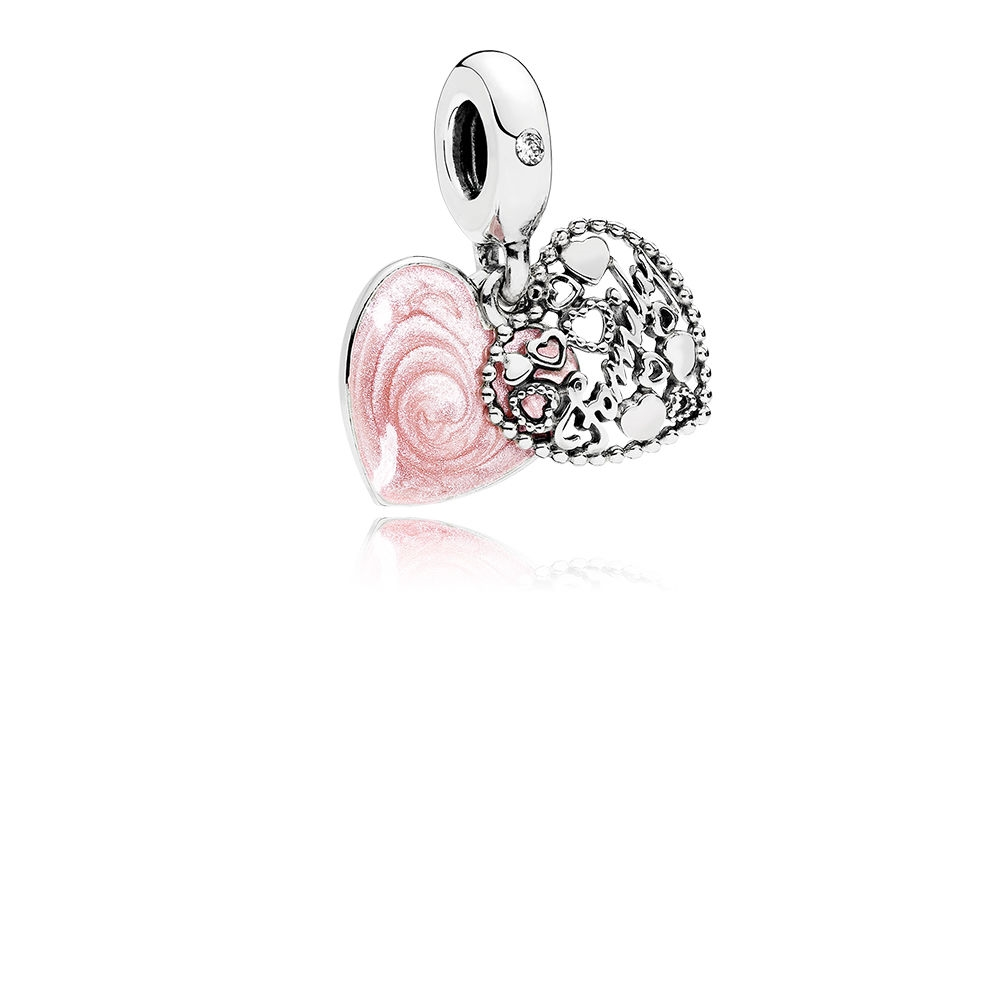 Pandora Love Makes A Family Dangle Charm, Pink Enamel & Clear CZ